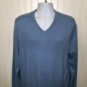 Light Blue V Neck Sweater. Long sleeve pullover.